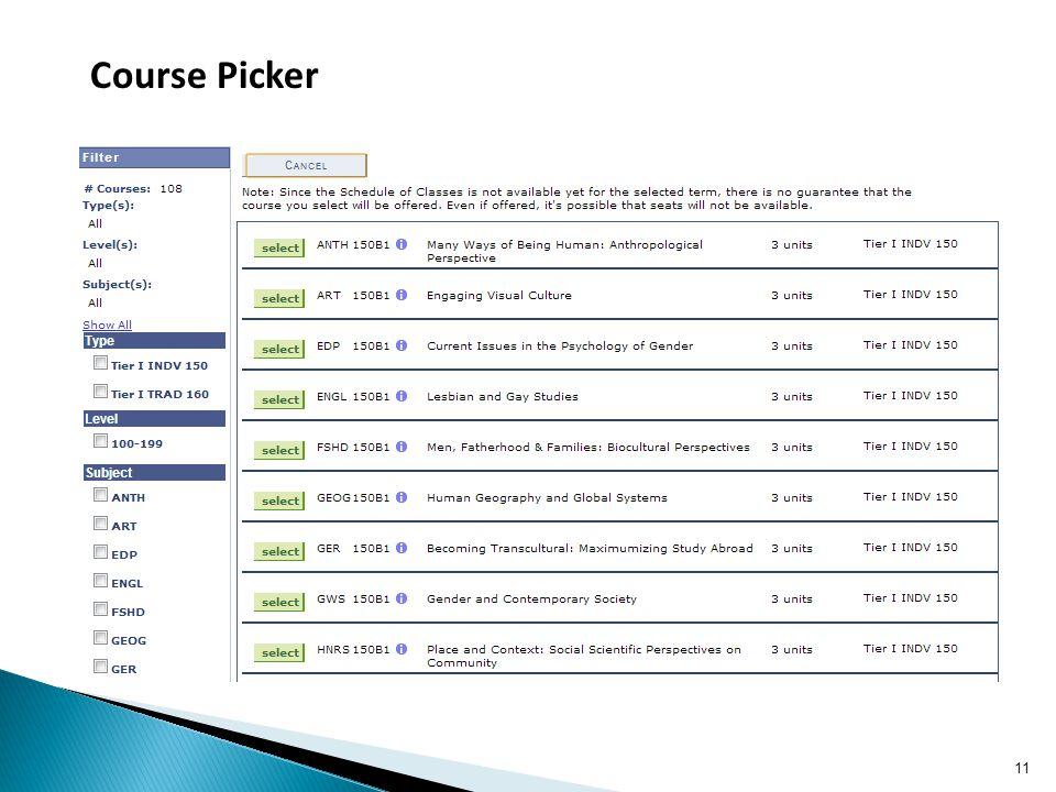 11 Course Picker