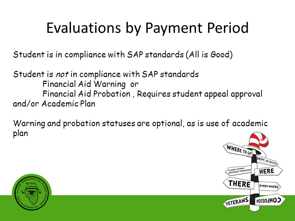 Student is in compliance with SAP standards (All is Good) Student is not in compliance with SAP standards Financial Aid Warning or Financial Aid Probation, Requires student appeal approval and/or Academic Plan Warning and probation statuses are optional, as is use of academic plan Evaluations by Payment Period