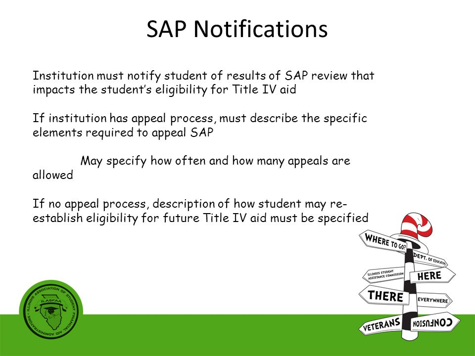 Institution must notify student of results of SAP review that impacts the student's eligibility for Title IV aid If institution has appeal process, must describe the specific elements required to appeal SAP May specify how often and how many appeals are allowed If no appeal process, description of how student may re- establish eligibility for future Title IV aid must be specified SAP Notifications