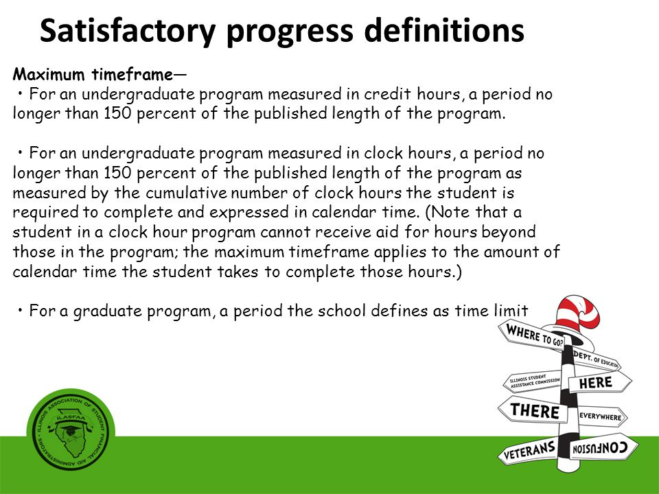 Maximum timeframe— For an undergraduate program measured in credit hours, a period no longer than 150 percent of the published length of the program.