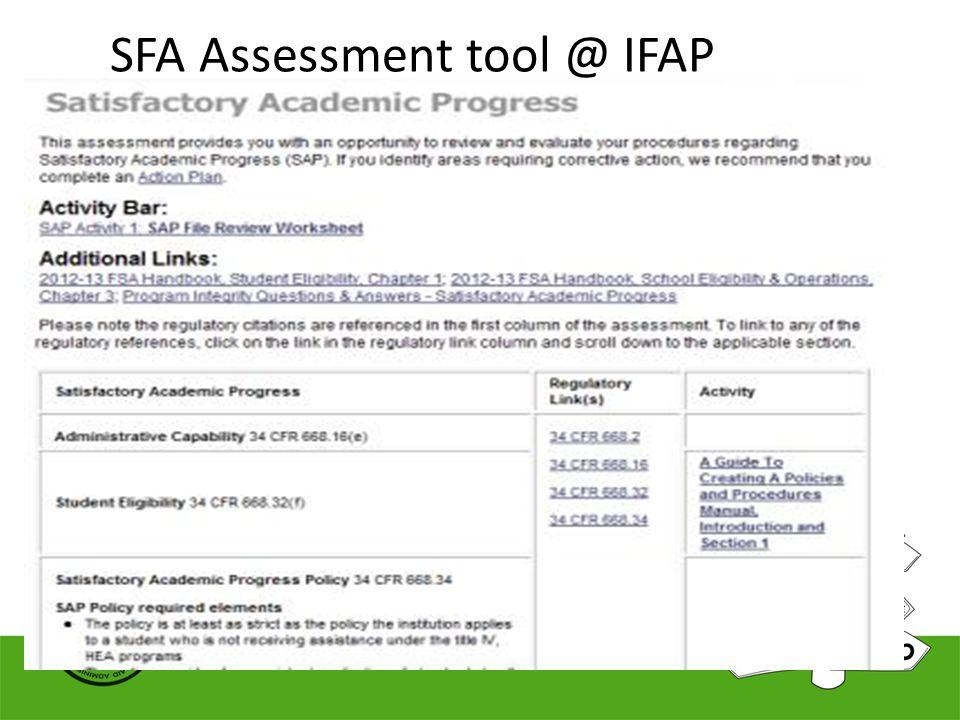 SFA Assessment tool @ IFAP