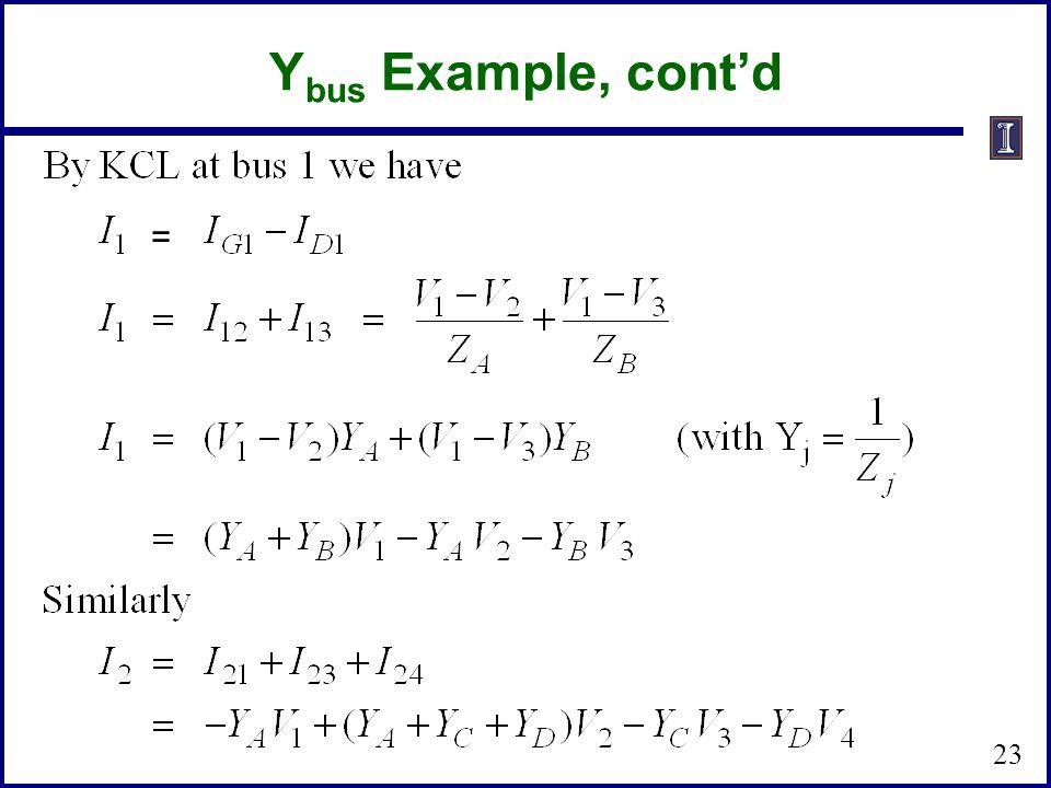 Y bus Example, cont'd 23 =