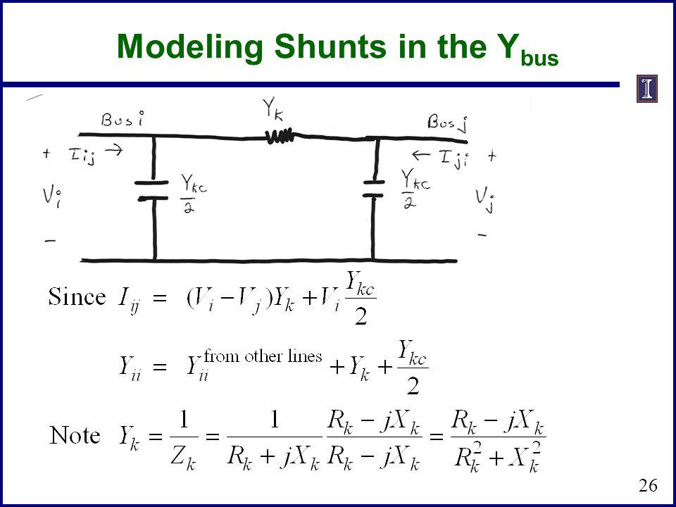 Modeling Shunts in the Y bus 26