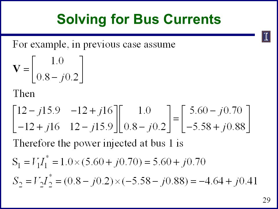 Solving for Bus Currents 29