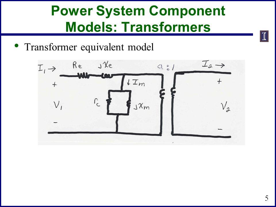 Power System Component Models: Transformers Transformer equivalent model 5