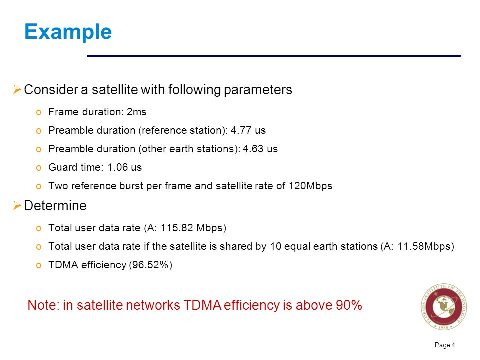 Florida Institute of technologies Example  Consider a satellite with following parameters oFrame duration: 2ms oPreamble duration (reference station)