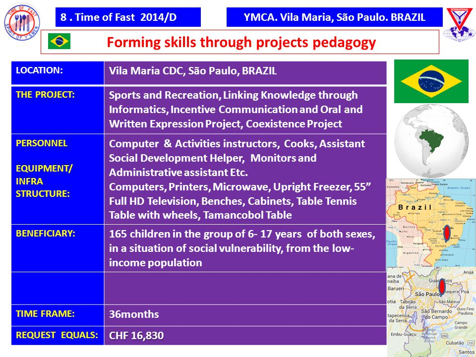 8. Time of Fast 2014/D Forming skills through projects pedagogy YMCA. Vila Maria, São Paulo. BRAZIL