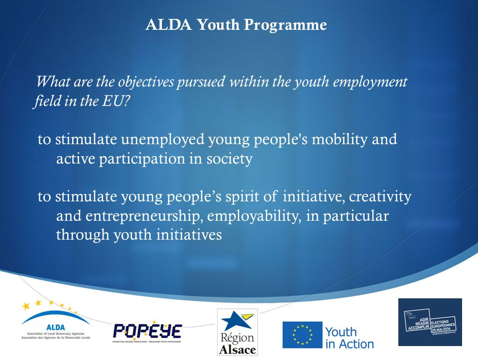  ALDA Youth Programme What are the tools applied to achieve these objectives.