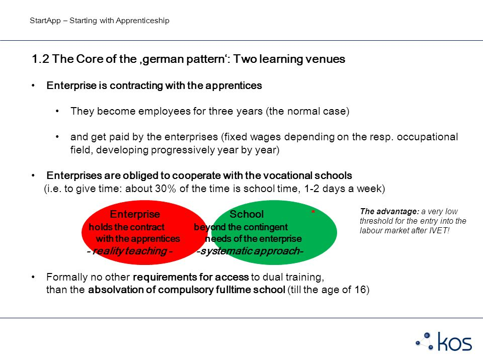 StartApp – Starting with Apprenticeship 1.2 The Core of the 'german pattern': Two learning venues Enterprise is contracting with the apprentices They become employees for three years (the normal case) and get paid by the enterprises (fixed wages depending on the resp.