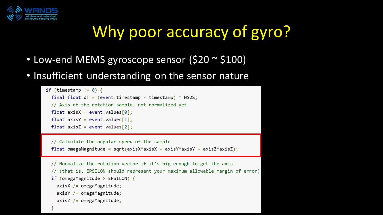 Why poor accuracy of gyro.