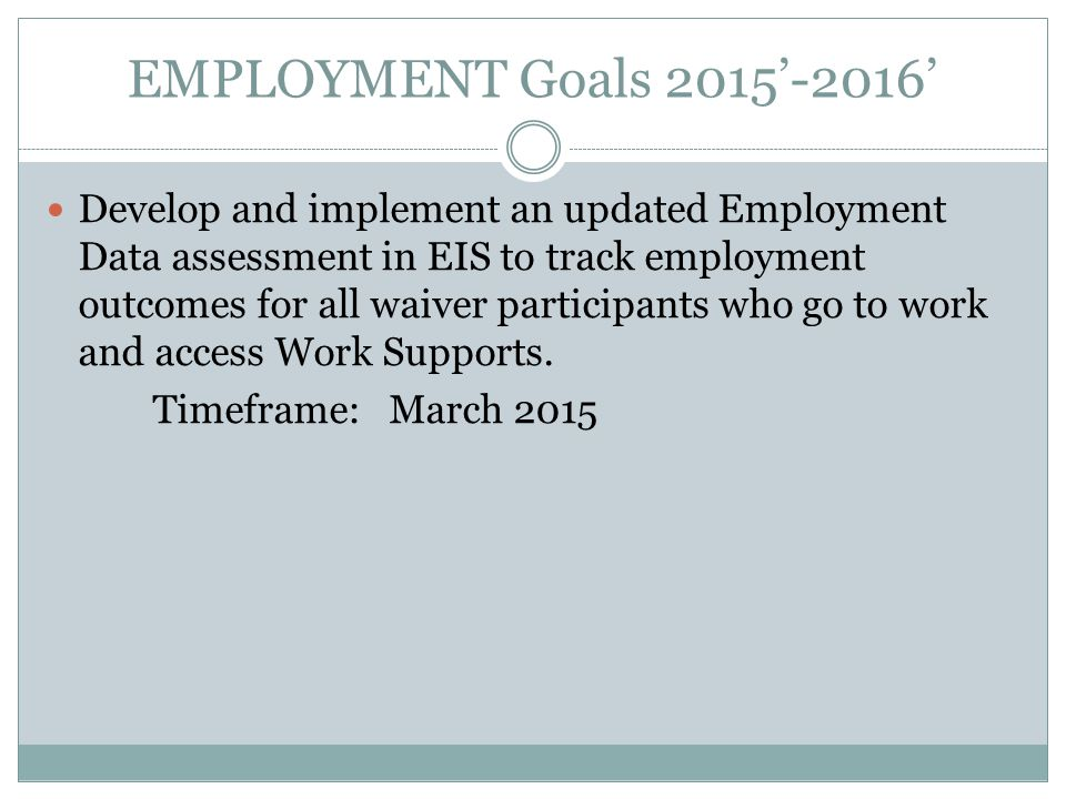 EMPLOYMENT Goals 2015'-2016' Develop and implement an updated Employment Data assessment in EIS to track employment outcomes for all waiver participants who go to work and access Work Supports.