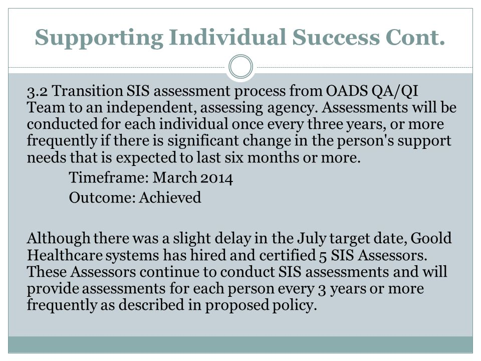Supporting Individual Success Cont.