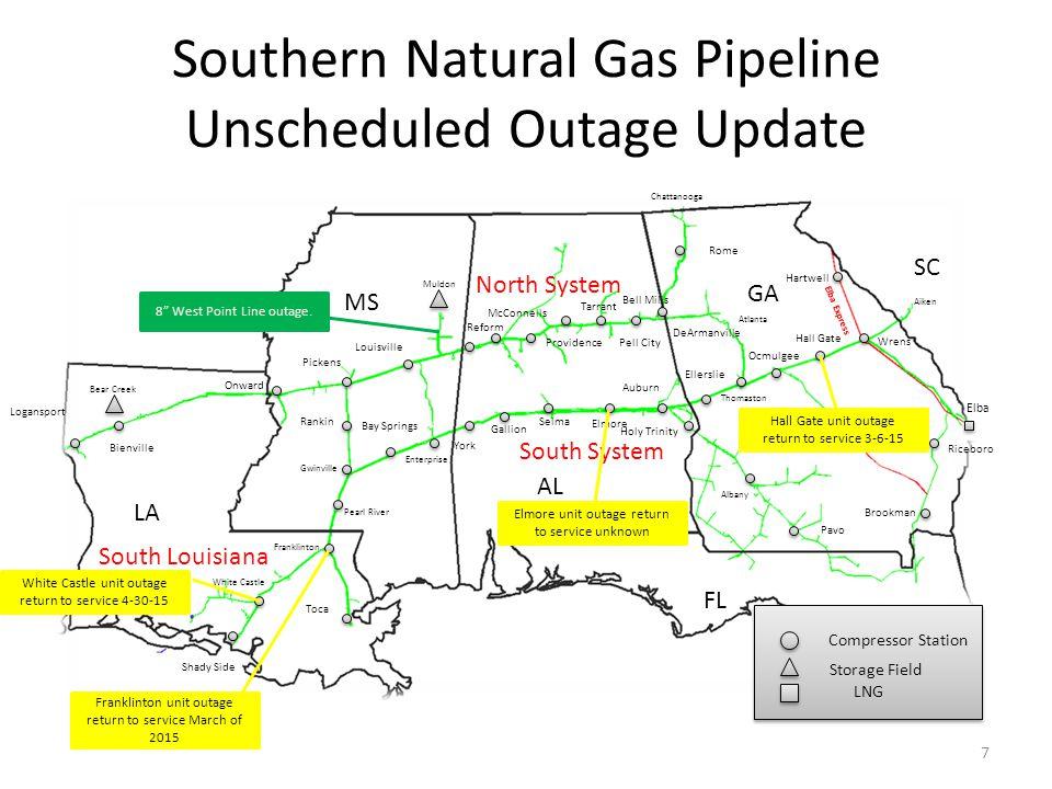 Southern Natural Gas Pipeline Unscheduled Outage Update LA MS AL GA FL Enterprise White Castle Bear Creek Muldon Chattanooga Atlanta Thomaston Albany