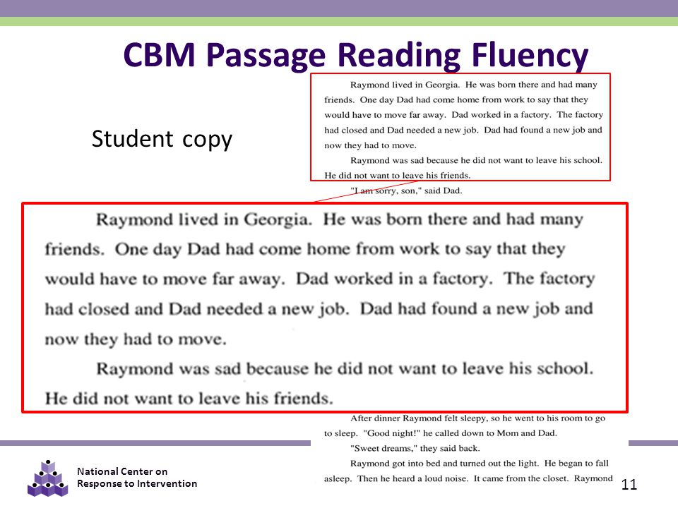 National Center on Response to Intervention Student copy CBM Passage Reading Fluency 11