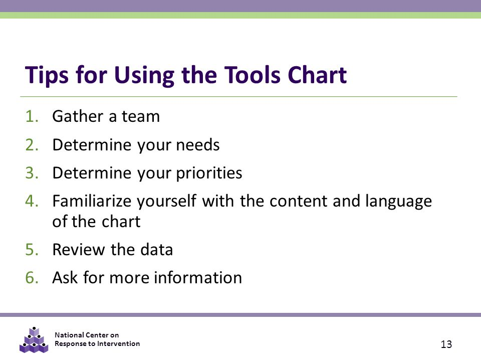 National Center on Response to Intervention Tips for Using the Tools Chart 1.Gather a team 2.Determine your needs 3.Determine your priorities 4.Familiarize yourself with the content and language of the chart 5.Review the data 6.Ask for more information 13