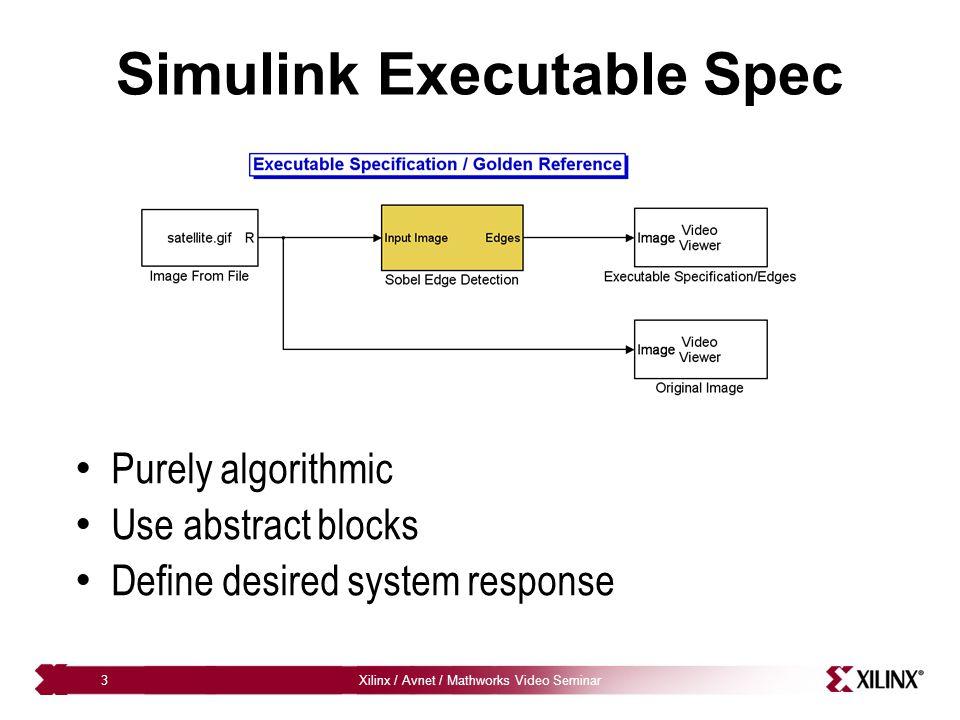 Xilinx / Avnet / Mathworks Video Seminar4 Executable Spec Demo