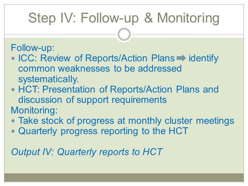 Step IV: Follow-up & Monitoring Follow-up: ICC: Review of Reports/Action Plans identify common weaknesses to be addressed systematically. HCT: Present