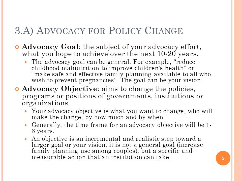 3.A) A DVOCACY FOR P OLICY C HANGE Advocacy Goal : the subject of your advocacy effort, what you hope to achieve over the next 10-20 years.