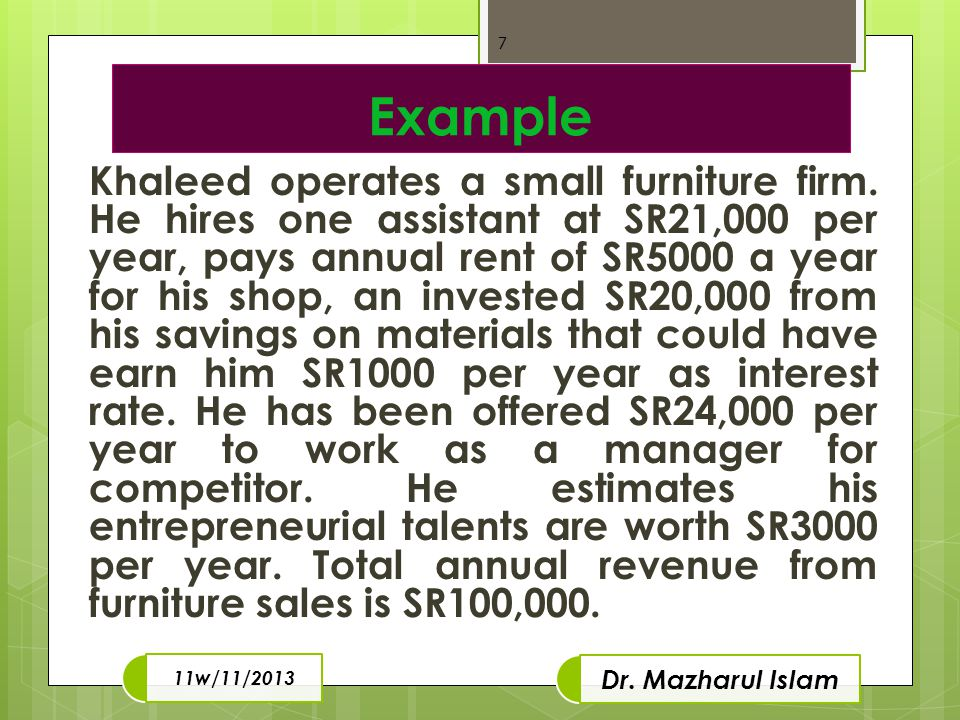 Example Khaleed operates a small furniture firm.