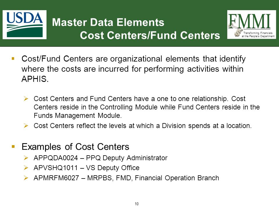 Transforming Financials at the People's Department Master Data Elements Cost Centers/Fund Centers  Cost/Fund Centers are organizational elements that