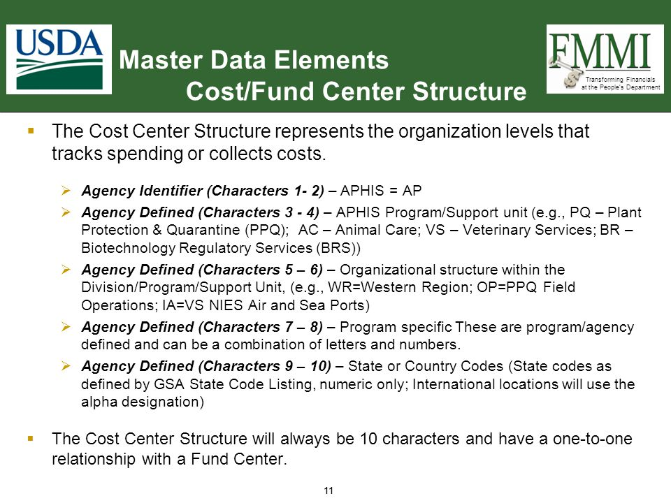 Transforming Financials at the People's Department 11  The Cost Center Structure represents the organization levels that tracks spending or collects