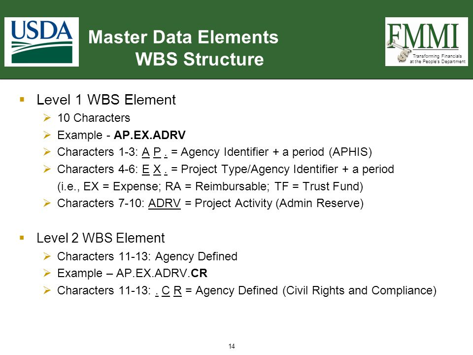 Transforming Financials at the People's Department Master Data Elements WBS Structure  Level 1 WBS Element  10 Characters  Example - AP.EX.ADRV  C