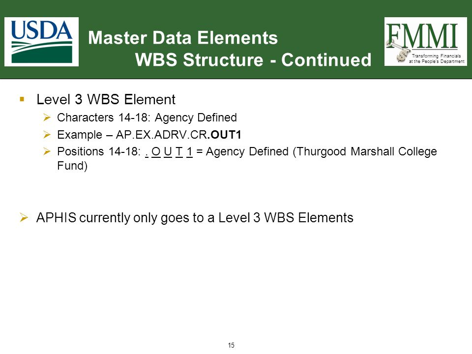 Transforming Financials at the People's Department Master Data Elements WBS Structure - Continued  Level 3 WBS Element  Characters 14-18: Agency Def