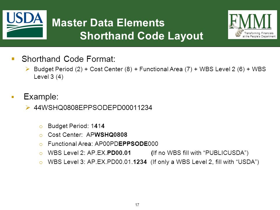 Transforming Financials at the People's Department Master Data Elements Shorthand Code Layout  Shorthand Code Format:  Budget Period (2) + Cost Cent