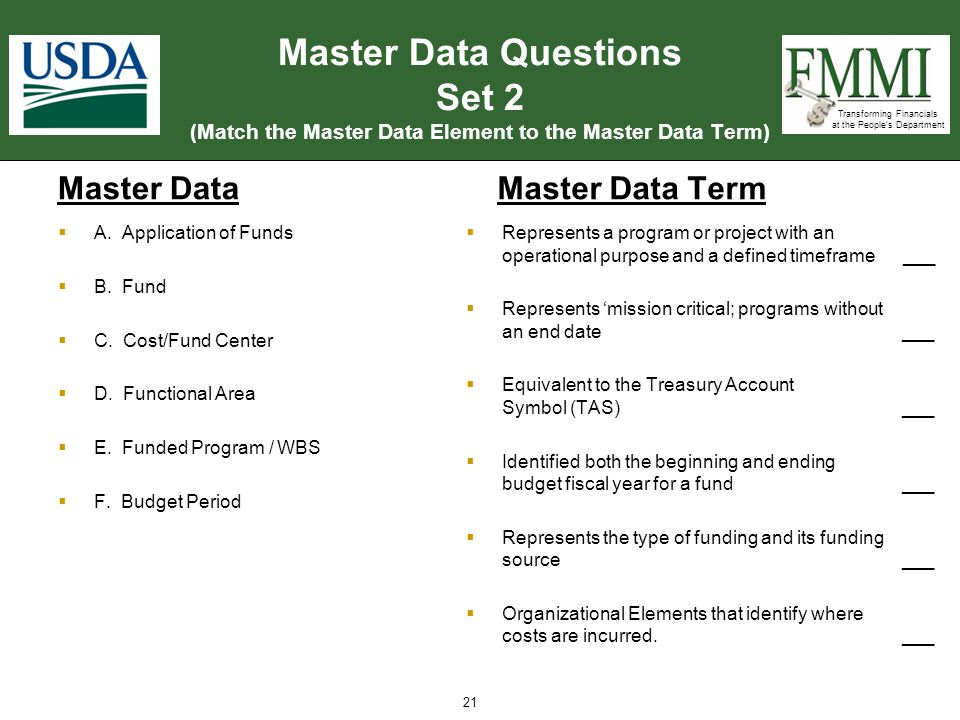 Transforming Financials at the People's Department Master Data Questions Set 2 (Match the Master Data Element to the Master Data Term) Master Data  R