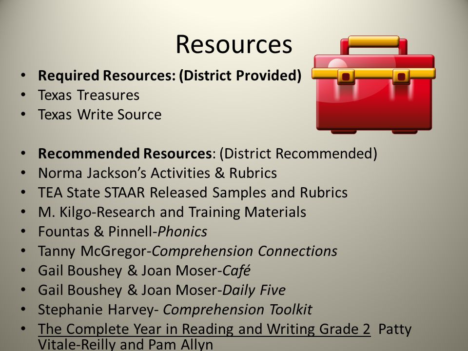 Resources Required Resources: (District Provided) Texas Treasures Texas Write Source Recommended Resources: (District Recommended) Norma Jackson's Activities & Rubrics TEA State STAAR Released Samples and Rubrics M.