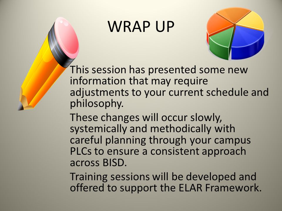 WRAP UP This session has presented some new information that may require adjustments to your current schedule and philosophy.