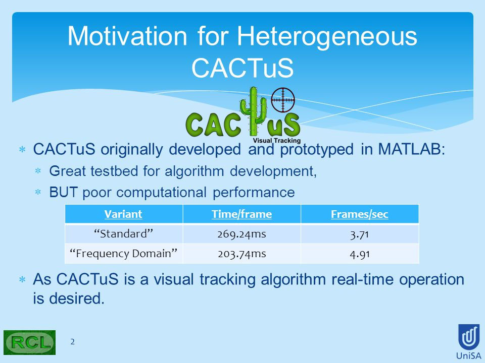 CACTuS originally developed and prototyped in MATLAB:  Great testbed for algorithm development,  BUT poor computational performance  As CACTuS is a visual tracking algorithm real-time operation is desired.