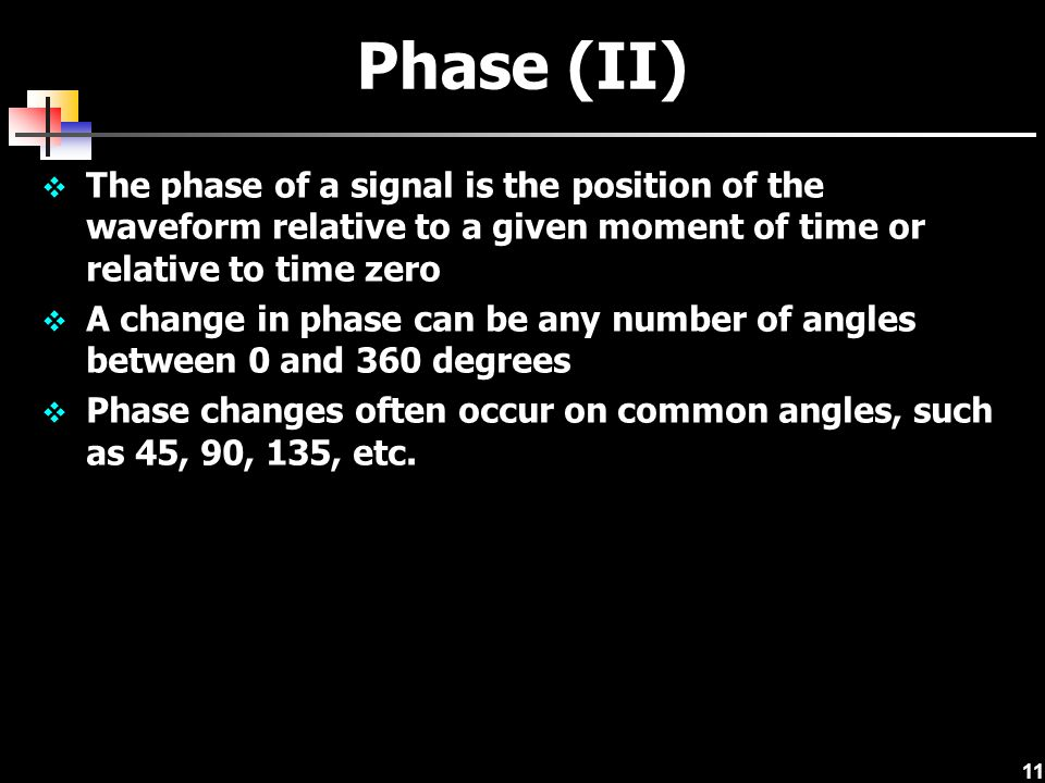 11 Phase (II)  The phase of a signal is the position of the waveform relative to a given moment of time or relative to time zero  A change in phase