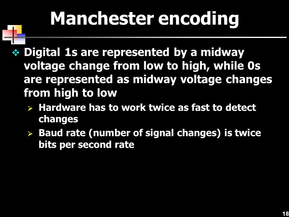 18 Manchester encoding  Digital 1s are represented by a midway voltage change from low to high, while 0s are represented as midway voltage changes fr