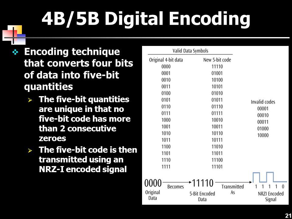 21 4B/5B Digital Encoding  Encoding technique that converts four bits of data into five-bit quantities  The five-bit quantities are unique in that n