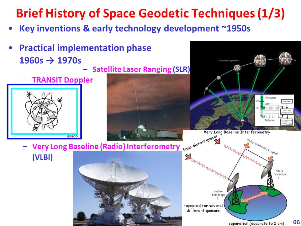 Maturation phase 1980s → 1990s –Doppler Orbitography & Radiopositioning by Satellite (DORIS) –Global Navigation Satellite Systems (GNSS): · GPS · GLONASS Brief History of Space Geodetic Techniques (2/3) 07