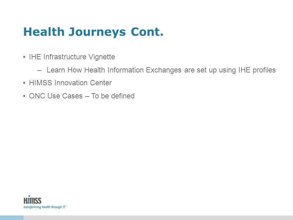 Health Journeys Cont. IHE Infrastructure Vignette –Learn How Health Information Exchanges are set up using IHE profiles HIMSS Innovation Center ONC Us