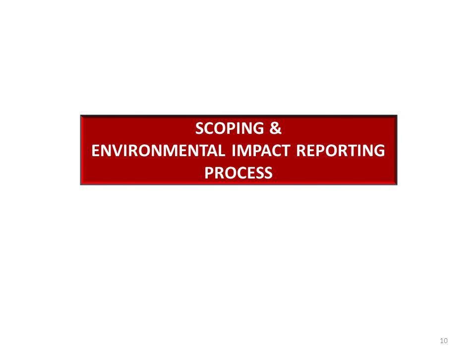 SCOPING & ENVIRONMENTAL IMPACT REPORTING PROCESS 10