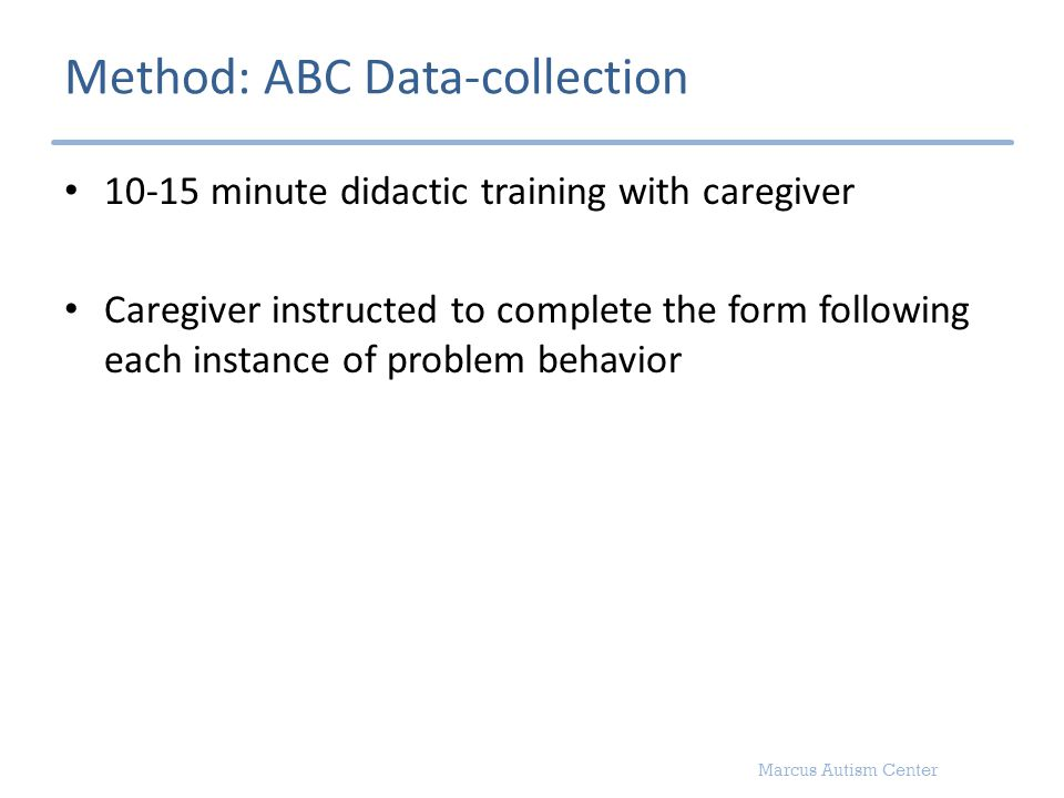 Marcus Autism Center Method: ABC Data-collection 10-15 minute didactic training with caregiver Caregiver instructed to complete the form following eac