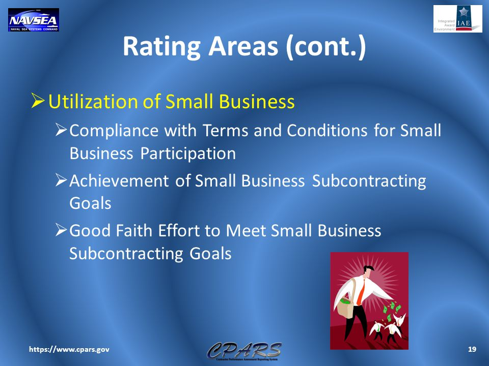 Rating Areas (cont.)  Utilization of Small Business  Compliance with Terms and Conditions for Small Business Participation  Achievement of Small Bu