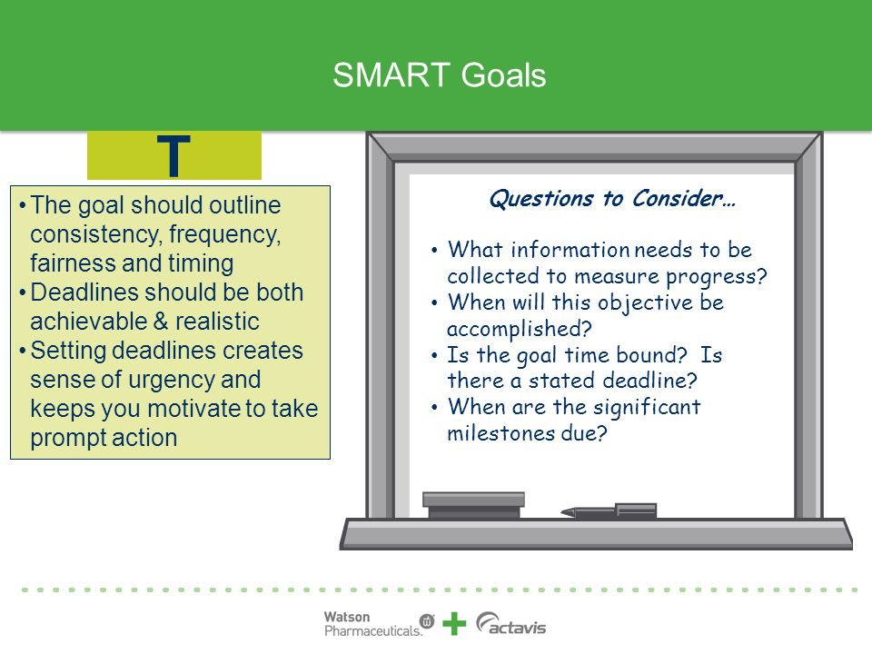 SMART Goals The goal should outline consistency, frequency, fairness and timing Deadlines should be both achievable & realistic Setting deadlines creates sense of urgency and keeps you motivate to take prompt action T Questions to Consider… What information needs to be collected to measure progress.