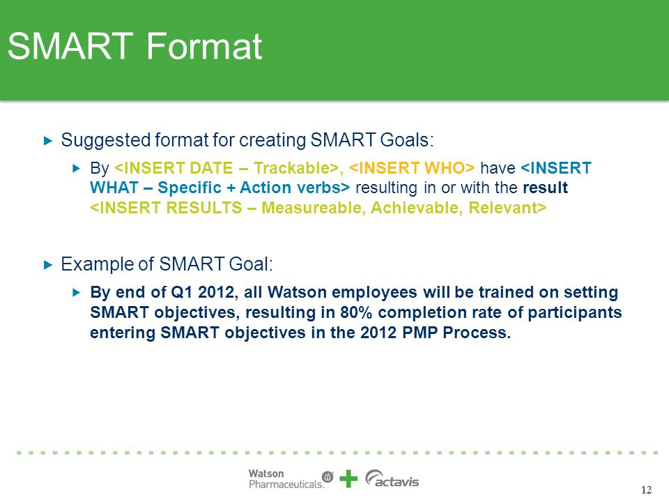 12  Suggested format for creating SMART Goals:  By, have resulting in or with the result  Example of SMART Goal:  By end of Q1 2012, all Watson employees will be trained on setting SMART objectives, resulting in 80% completion rate of participants entering SMART objectives in the 2012 PMP Process.