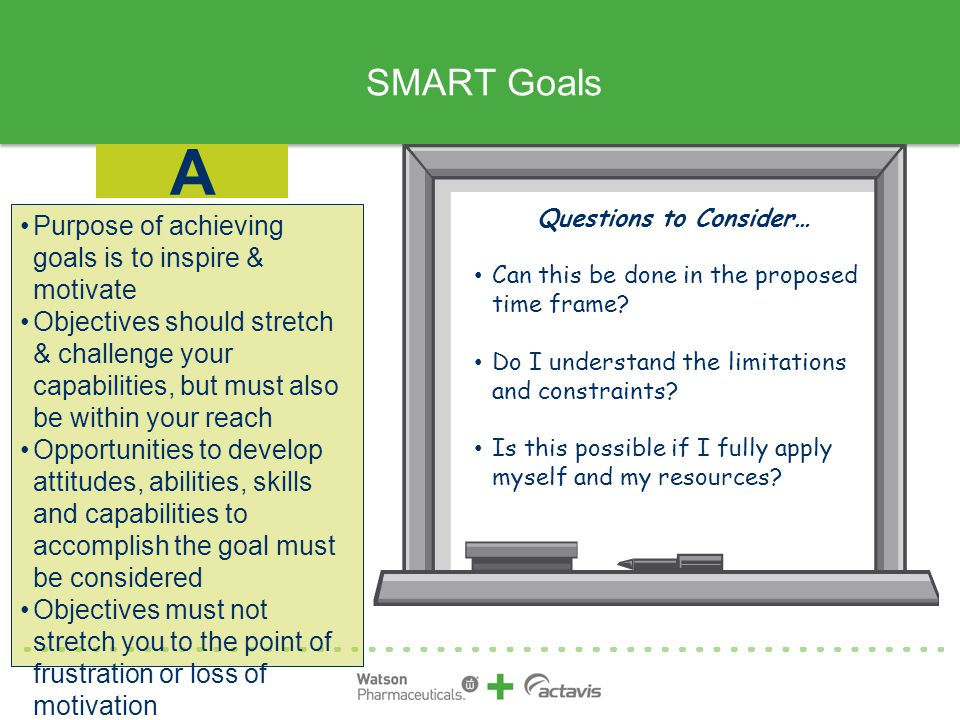 SMART Goals Purpose of achieving goals is to inspire & motivate Objectives should stretch & challenge your capabilities, but must also be within your reach Opportunities to develop attitudes, abilities, skills and capabilities to accomplish the goal must be considered Objectives must not stretch you to the point of frustration or loss of motivation A Questions to Consider… Can this be done in the proposed time frame.