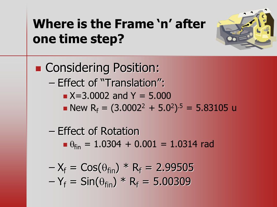 Where is the Frame 'n' after one time step.