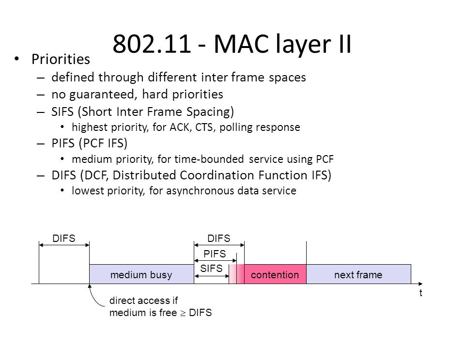 802.11 - MAC layer II Priorities – defined through different inter frame spaces – no guaranteed, hard priorities – SIFS (Short Inter Frame Spacing) highest priority, for ACK, CTS, polling response – PIFS (PCF IFS) medium priority, for time-bounded service using PCF – DIFS (DCF, Distributed Coordination Function IFS) lowest priority, for asynchronous data service t medium busy SIFS PIFS DIFS next framecontention direct access if medium is free  DIFS