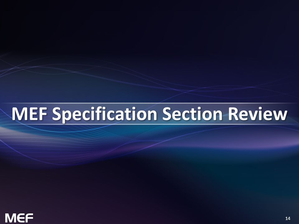14 MEF Specification Section Review