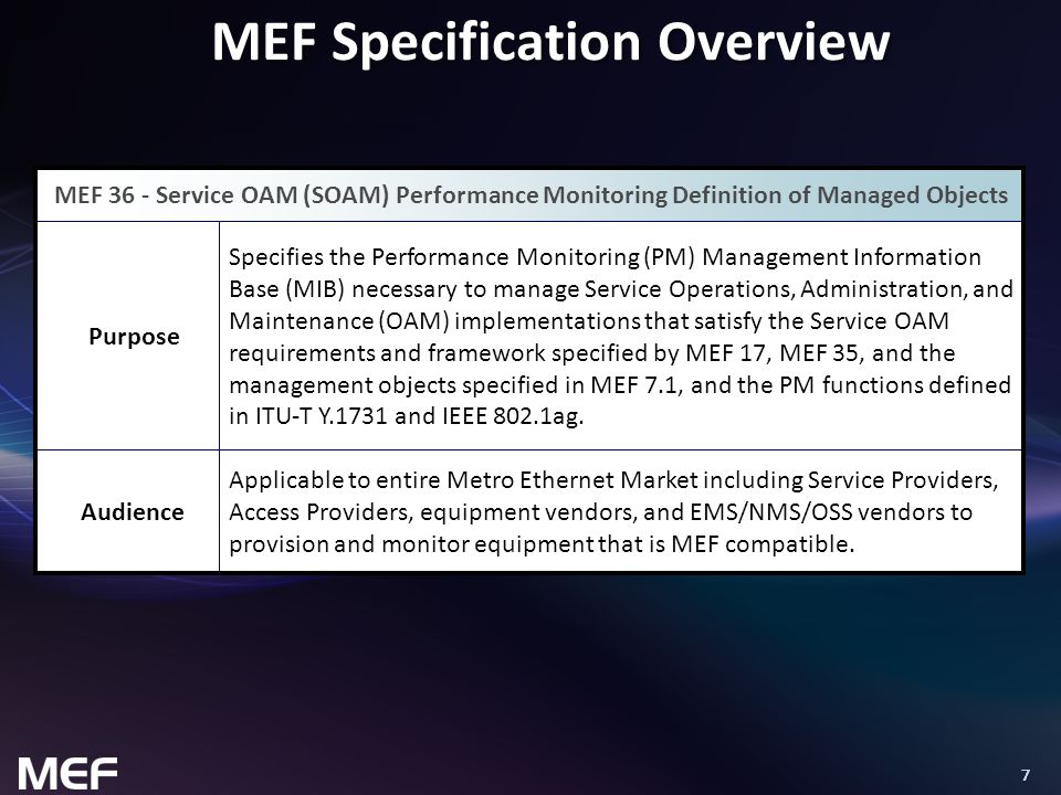 8 Overview of MEF 36