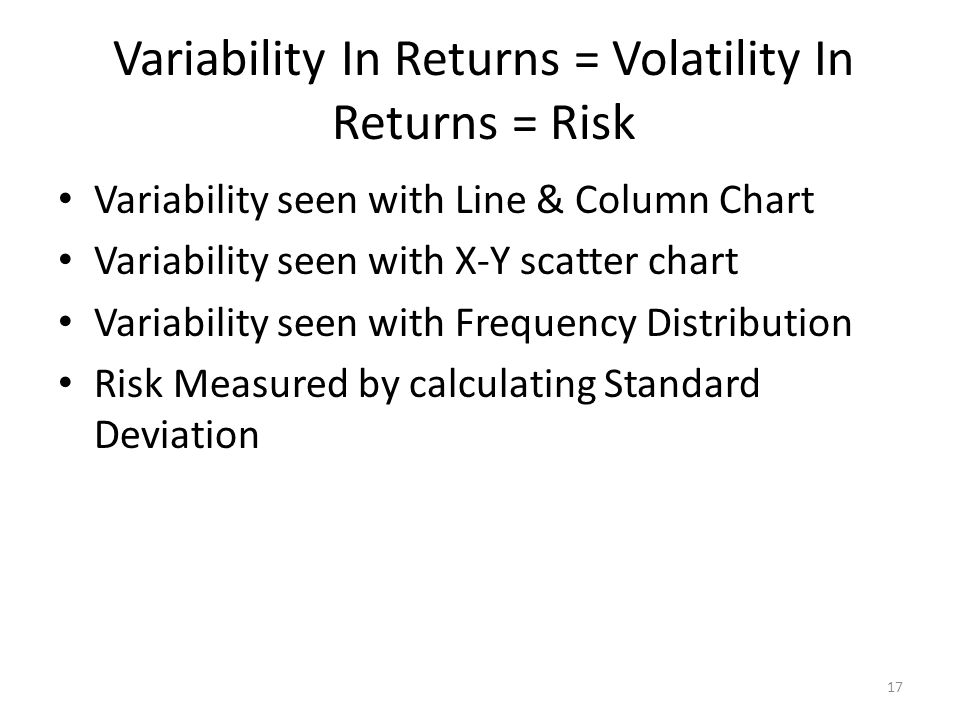 Variability In Returns = Volatility In Returns = Risk Variability seen with Line & Column Chart Variability seen with X-Y scatter chart Variability se