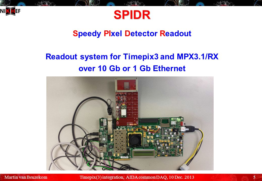 SPIDR Speedy PIxel Detector Readout Readout system for Timepix3 and MPX3.1/RX over 10 Gb or 1 Gb Ethernet Timepix(3) integration, AIDA common DAQ, 10 Dec.