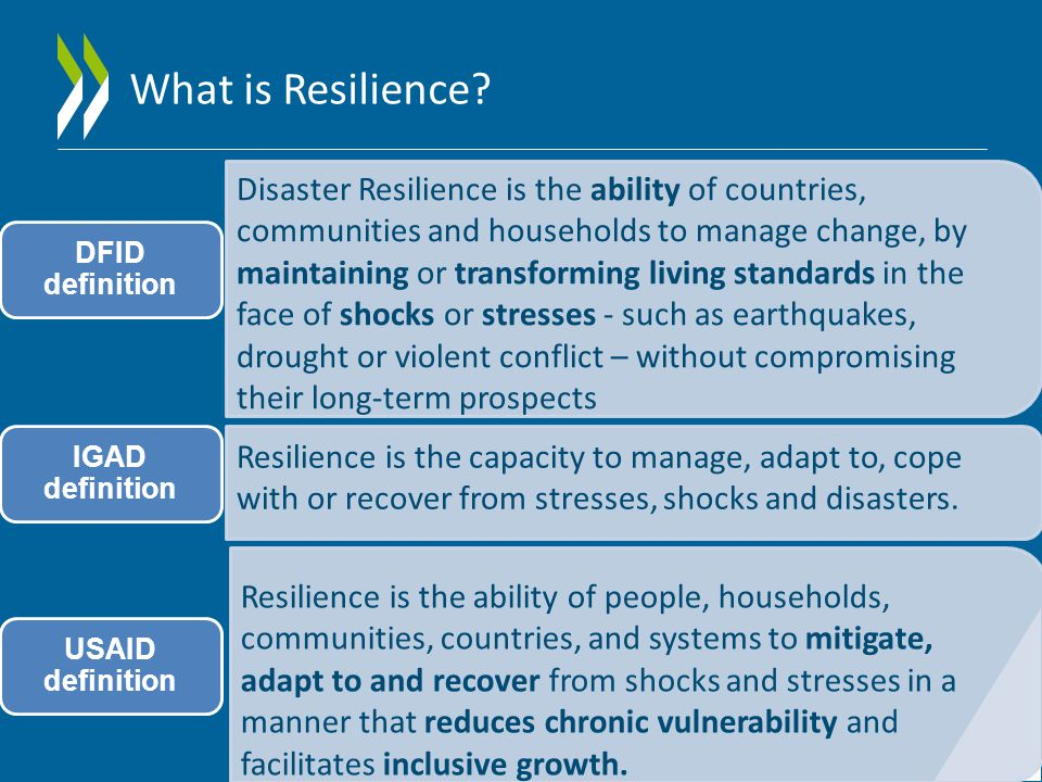 Disaster Resilience is the ability of countries, communities and households to manage change, by maintaining or transforming living standards in the face of shocks or stresses - such as earthquakes, drought or violent conflict – without compromising their long-term prospects DFID definition Resilience is the capacity to manage, adapt to, cope with or recover from stresses, shocks and disasters.